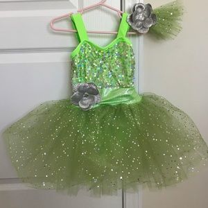 Other - EUC 2t Tinker Bell Dance Costume & matching bow
